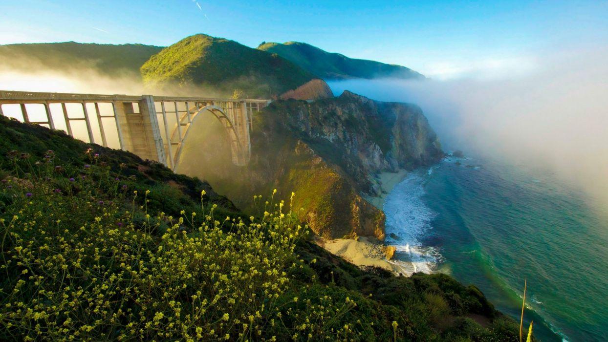 California bridge fog coast cliff sea sky landscape wallpaper