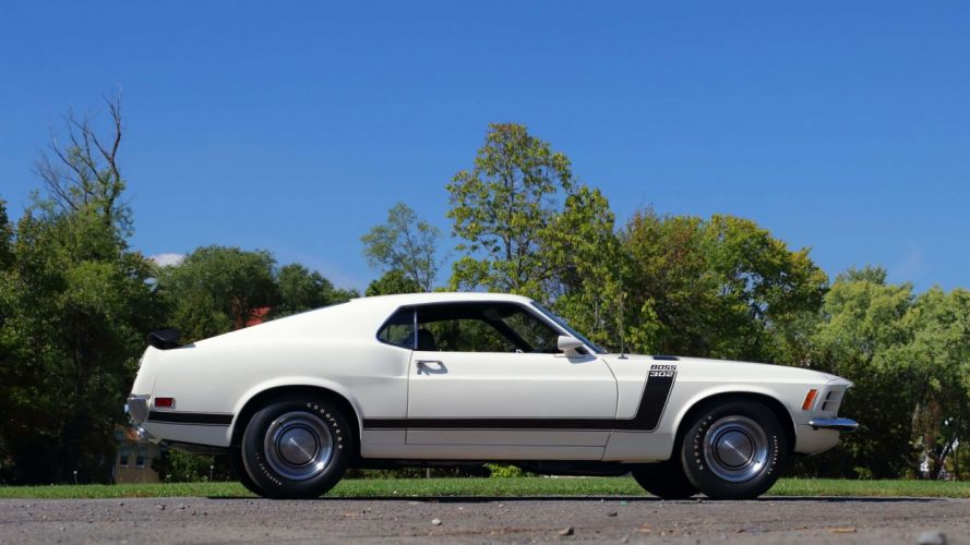 1970 FORD MUSTANG BOSS 302 FASTBACK cars white wallpaper