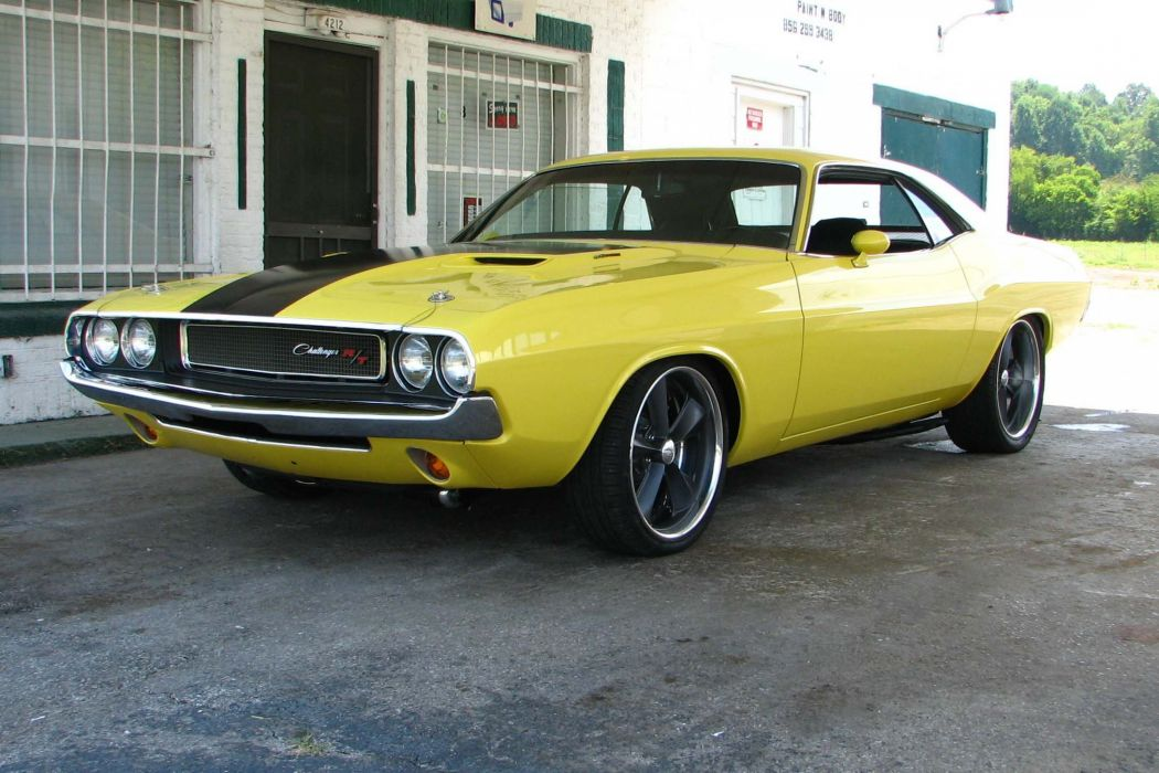 1970 Dodge Challenger Pro Touring cars muscles yellow wallpaper