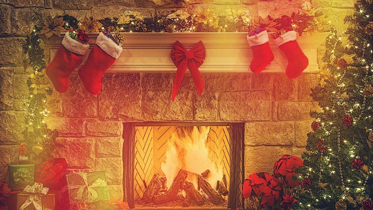 chimenea fuego regalos navidad wallpaper