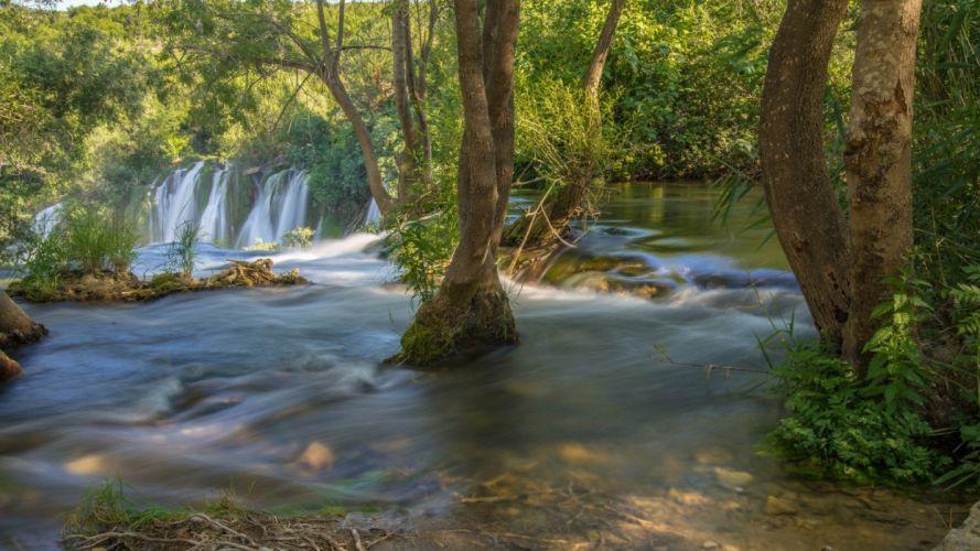 green natural landscape river wallpaper