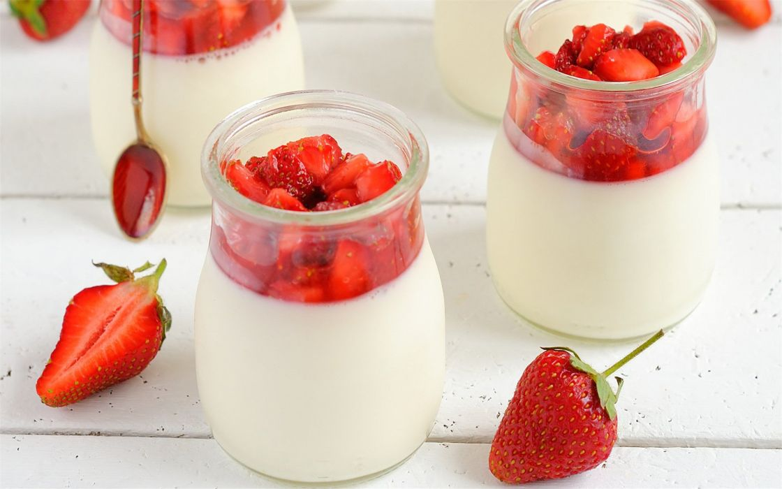 Strawberry delicious pudding food wallpaper