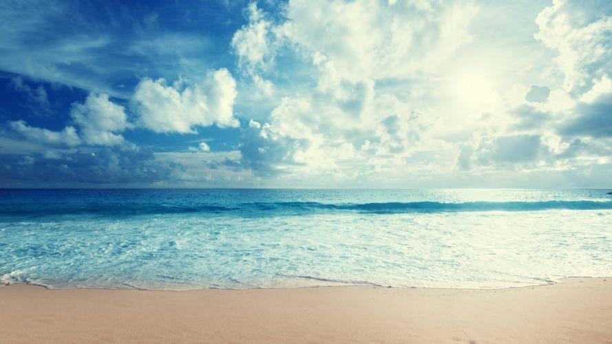 beach sky nature beauty landscape blue sea waves wallpaper