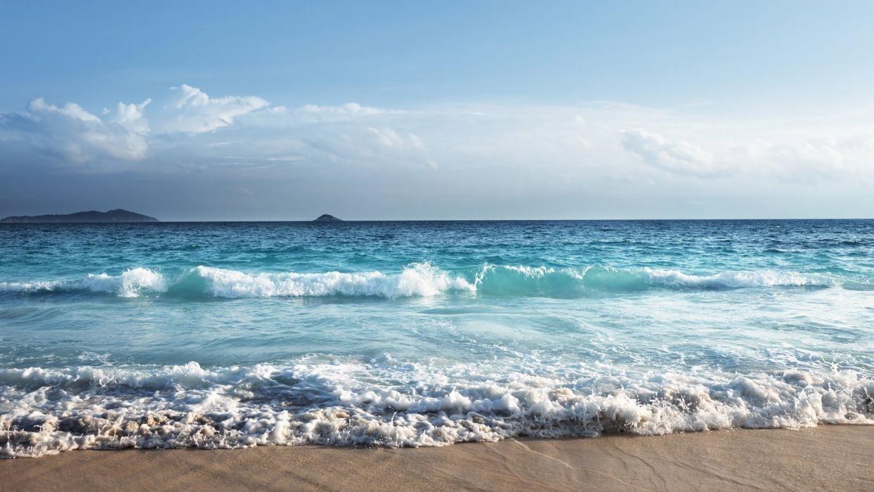 sky beach nature beauty landscape blue sea waves wallpaper