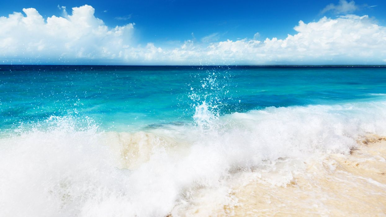 nature beauty landscape blue sea waves beach wallpaper