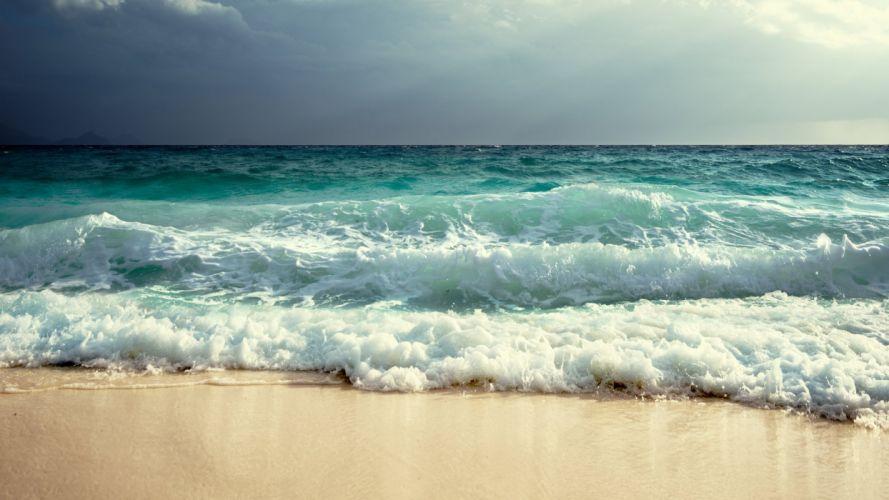 fresh and beautiful blue sea waves wallpaper