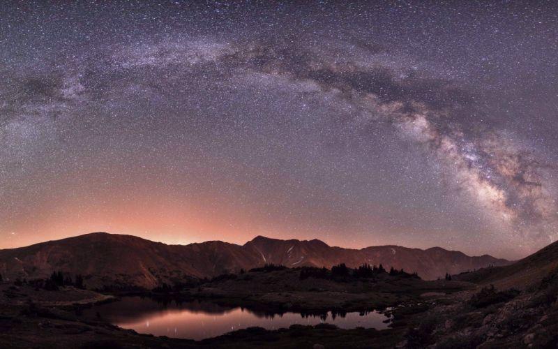 lake landscape nature beauty peacefull universe stars sky wallpaper