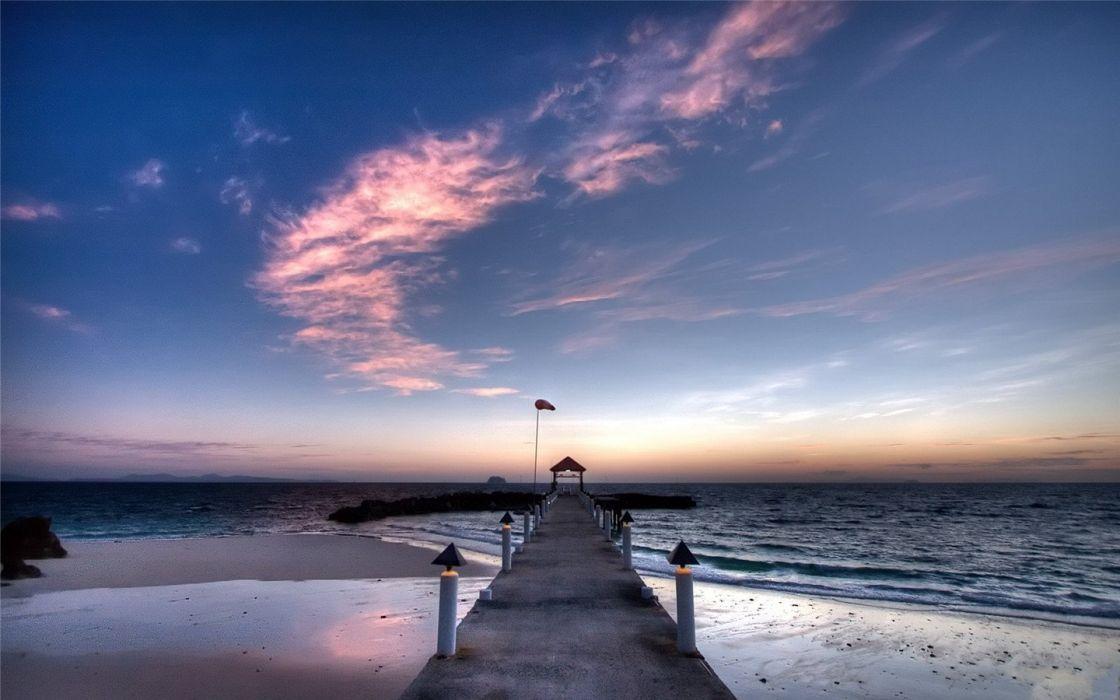 natural landscape beautiful dock of natural scenery sky wallpaper