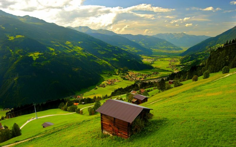 landscape natural Beautiful mountain scenery house green wallpaper