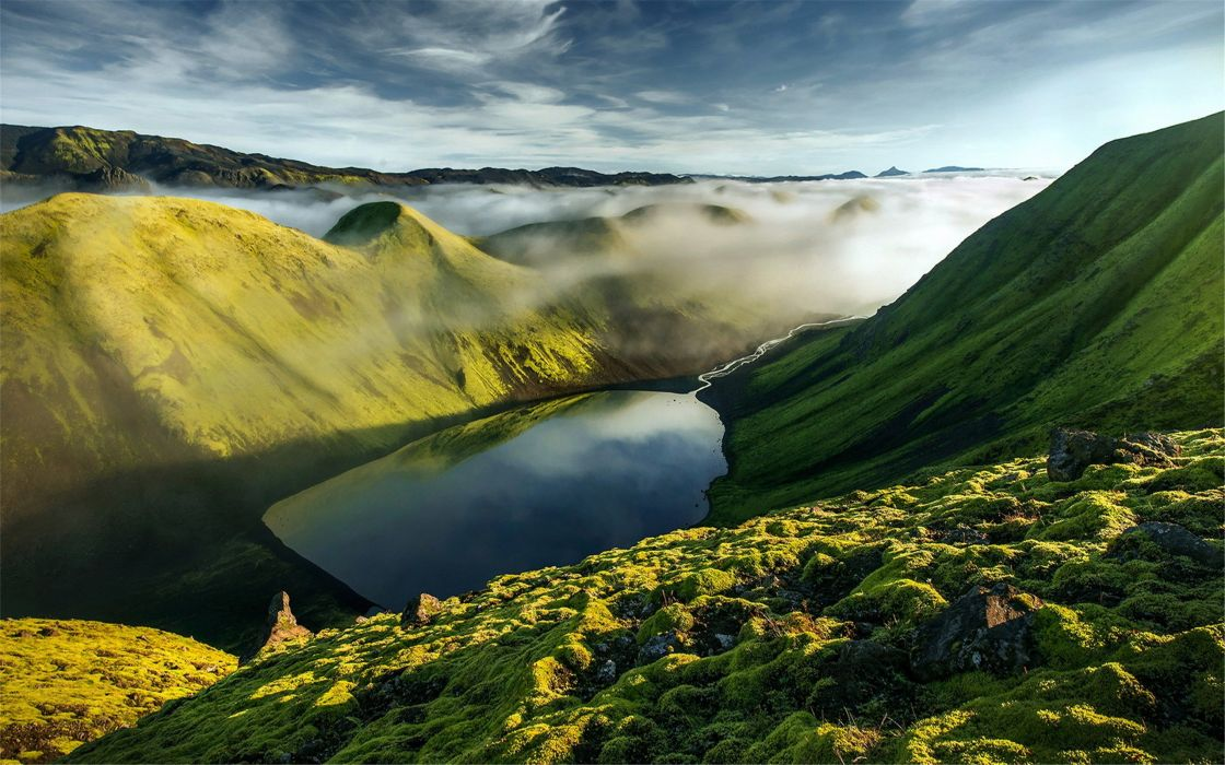 landscape natural Beautiful mountain scenery green lake wallpaper