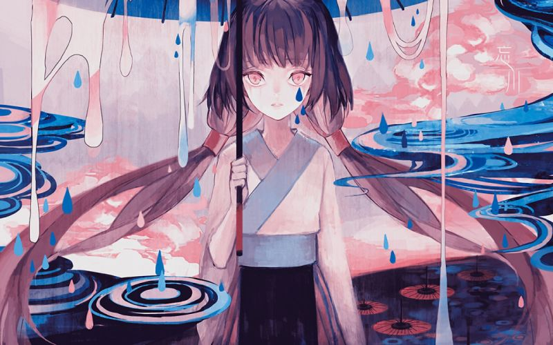 rain anime girl beautiful dress wallpaper