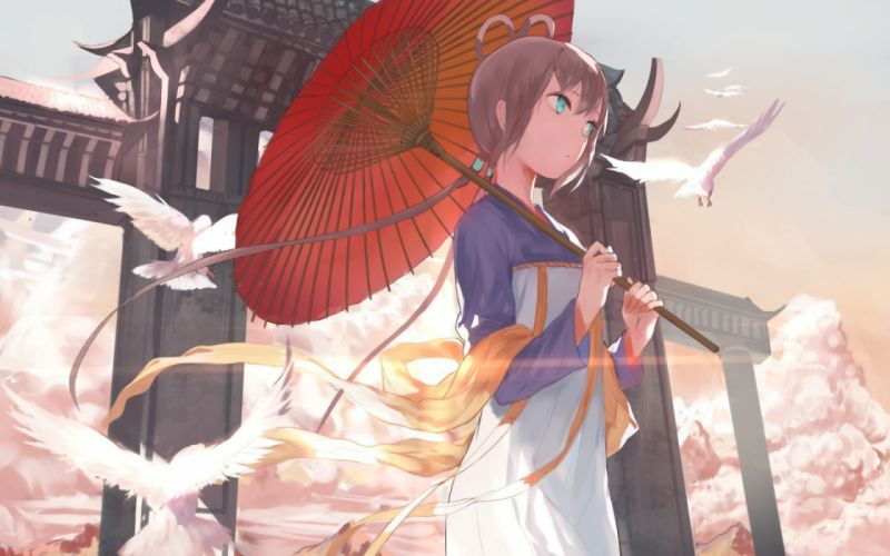 anime girl beautiful dress birds wallpaper