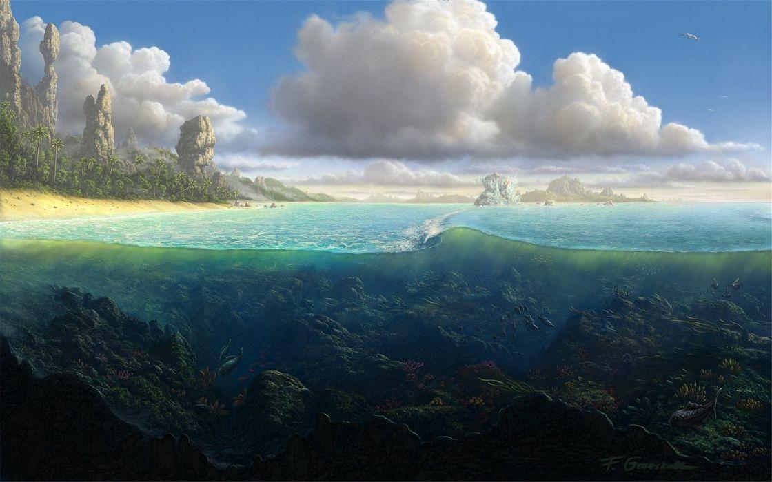 Beautiful natural fish clouds wallpaper