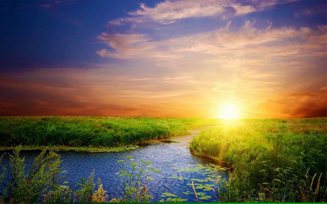 Beautiful natural river sunset wallpaper