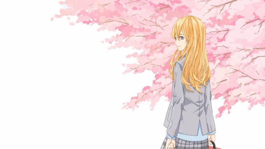 anie girl blonde cute pink flower wallpaper