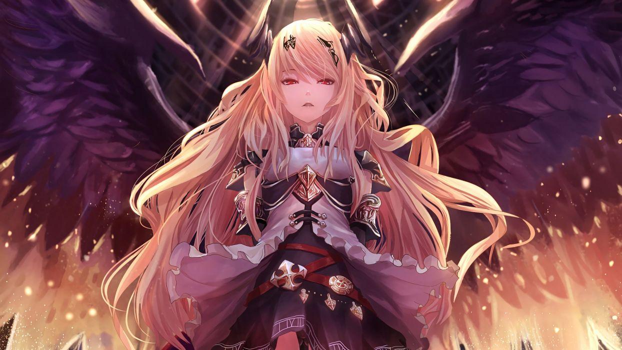 anime girl long hair dress wings wallpaper