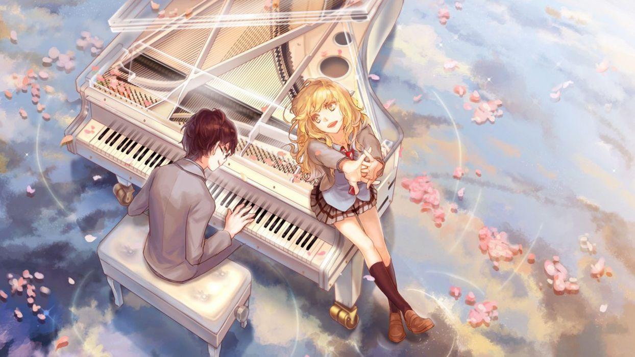 anime girl boy couple music piano petals blonde wallpaper