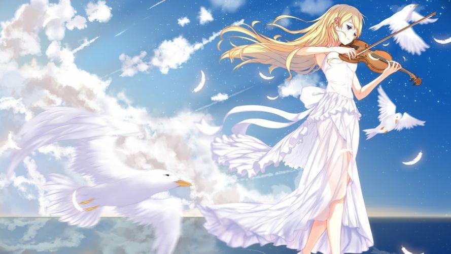anime girl music petals blonde wallpaper