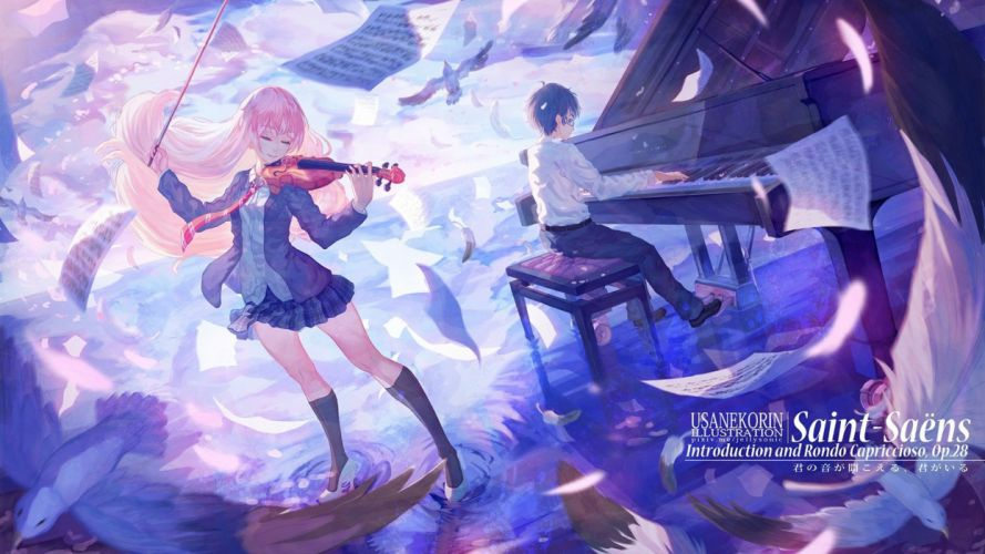 anime girl boy couple music piano petals blonde violin birds wallpaper