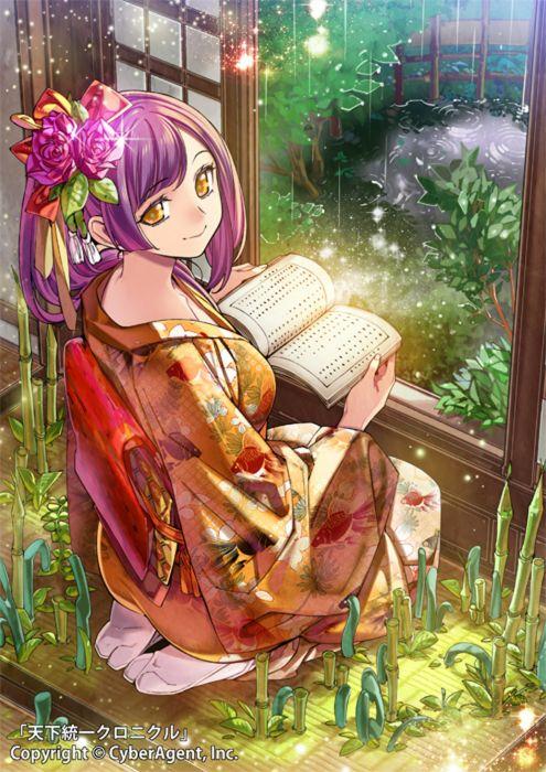 CyberAgent Tenka Touitsu Chronicle anime video games anime character girl kimono beautiful long hair cute wallpaper