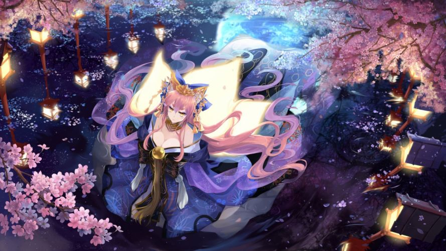 anime girl cute flower long hair beautiful fate series wallpaper