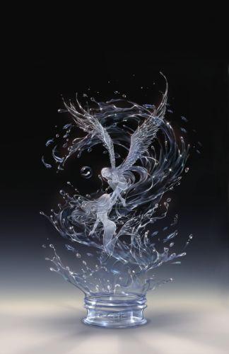 anime girl water magic beautiful mermaid fairy angel wallpaper