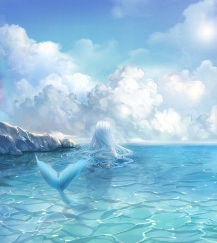 anime girl cute long hair beautiful mermaid sky fairy wallpaper
