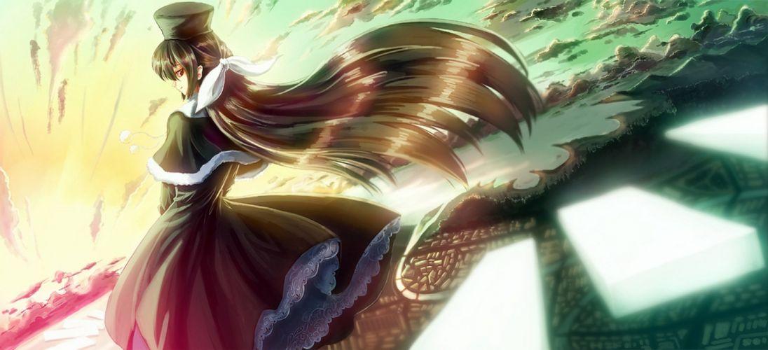 anime girl cute long hair beautiful Paseri Minori ef - a fairy tale of the two Amamiya Yuuko City Blunt Bangs wallpaper