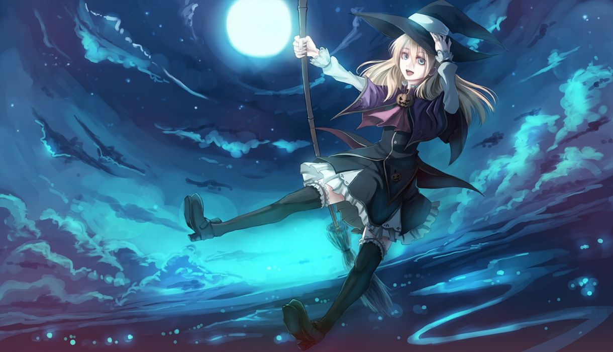 anime girl paseri halloween scnery witch hat broom wallpaper