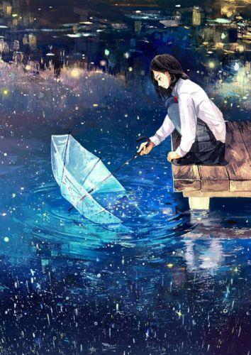 anime girl school uniform umbrella wallpaper