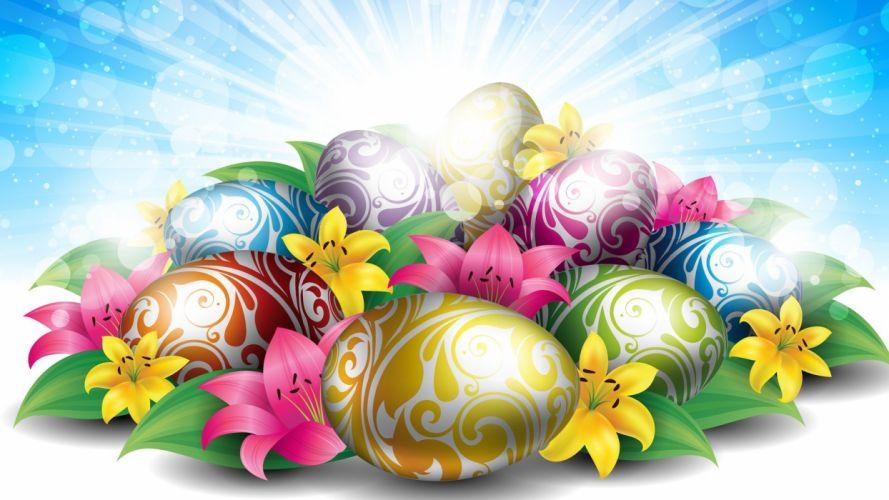 feliz pascua huevos flores wallpaper