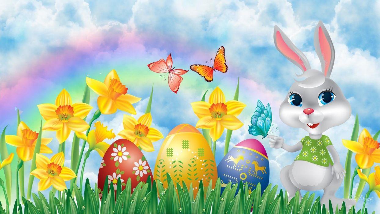 conejo huevos flores mariposas pascua wallpaper