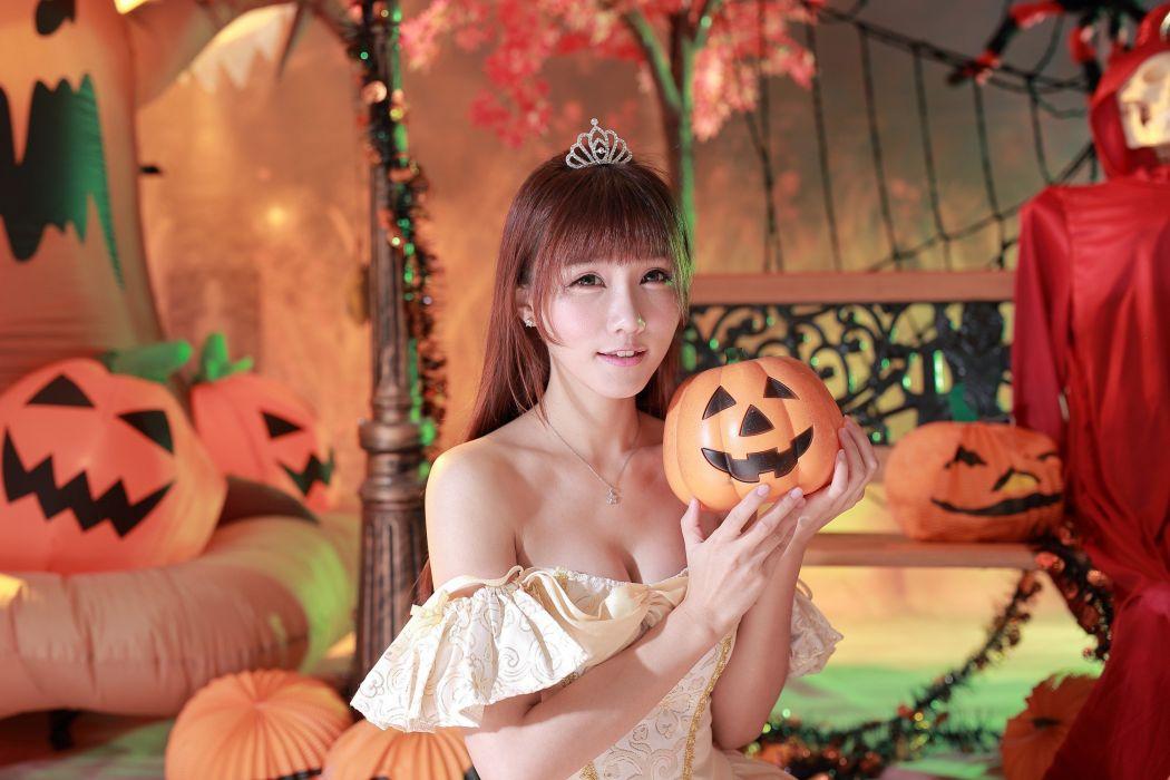 mujer oriental calabazas halloween wallpaper