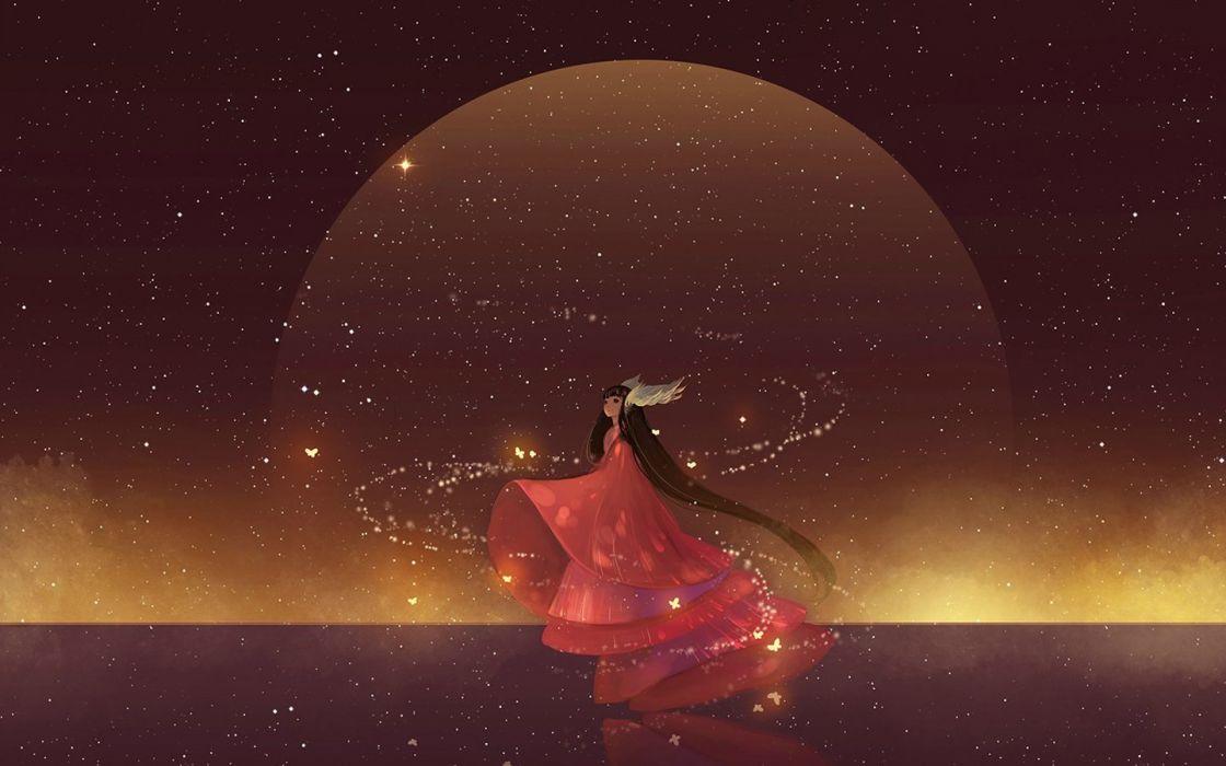 anime girl kimono magic girl wallpaper