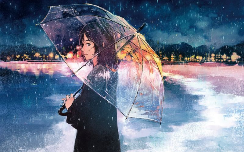 anime girl umbrella rain wallpaper