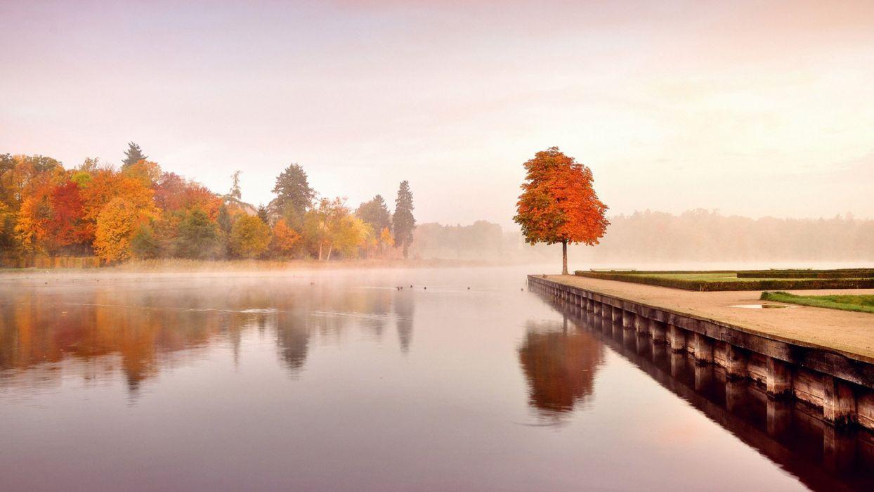 lake trees autumn landscape nature wallpaper