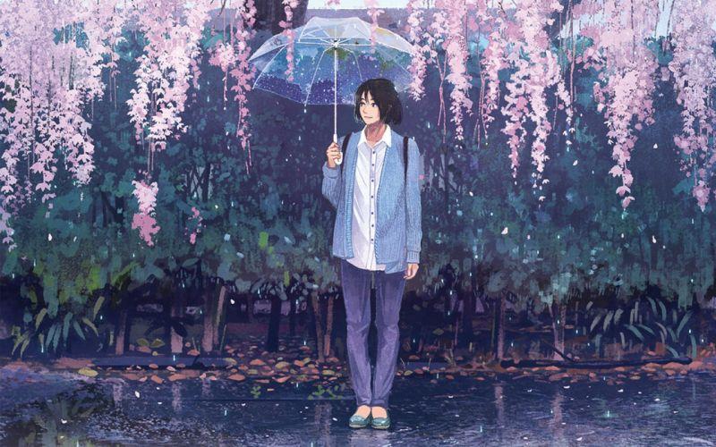 anime umbrella flower rain wallpaper