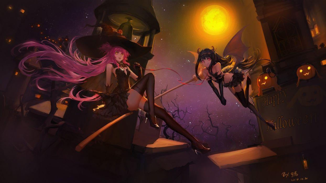 brujas noche escoba halloween wallpaper
