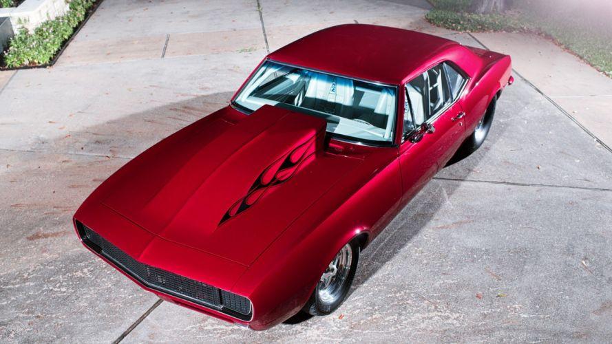 1967 CHEVROLET CAMARO PRO STREET cars red wallpaper