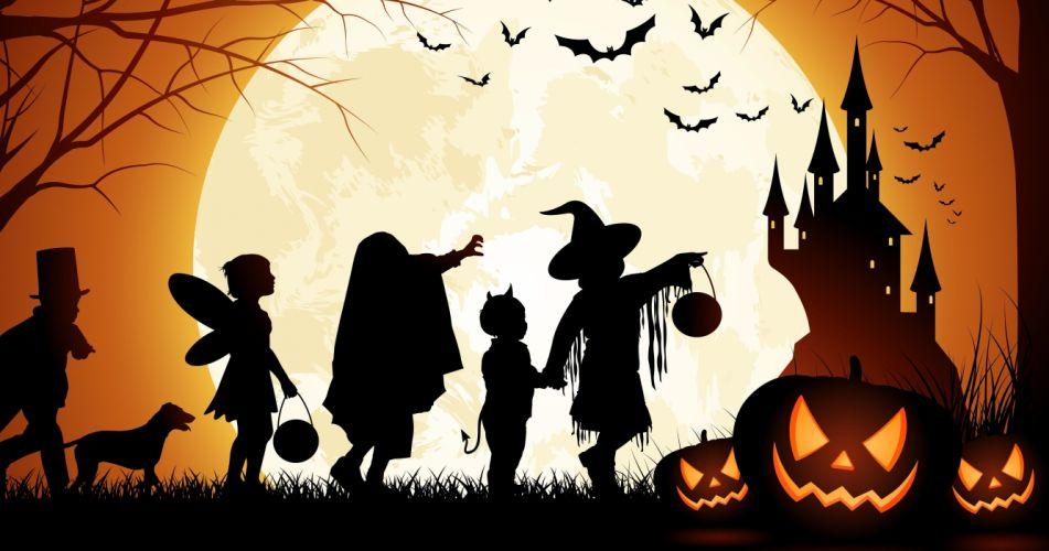siluetas halloween brujas calabazas castillo wallpaper