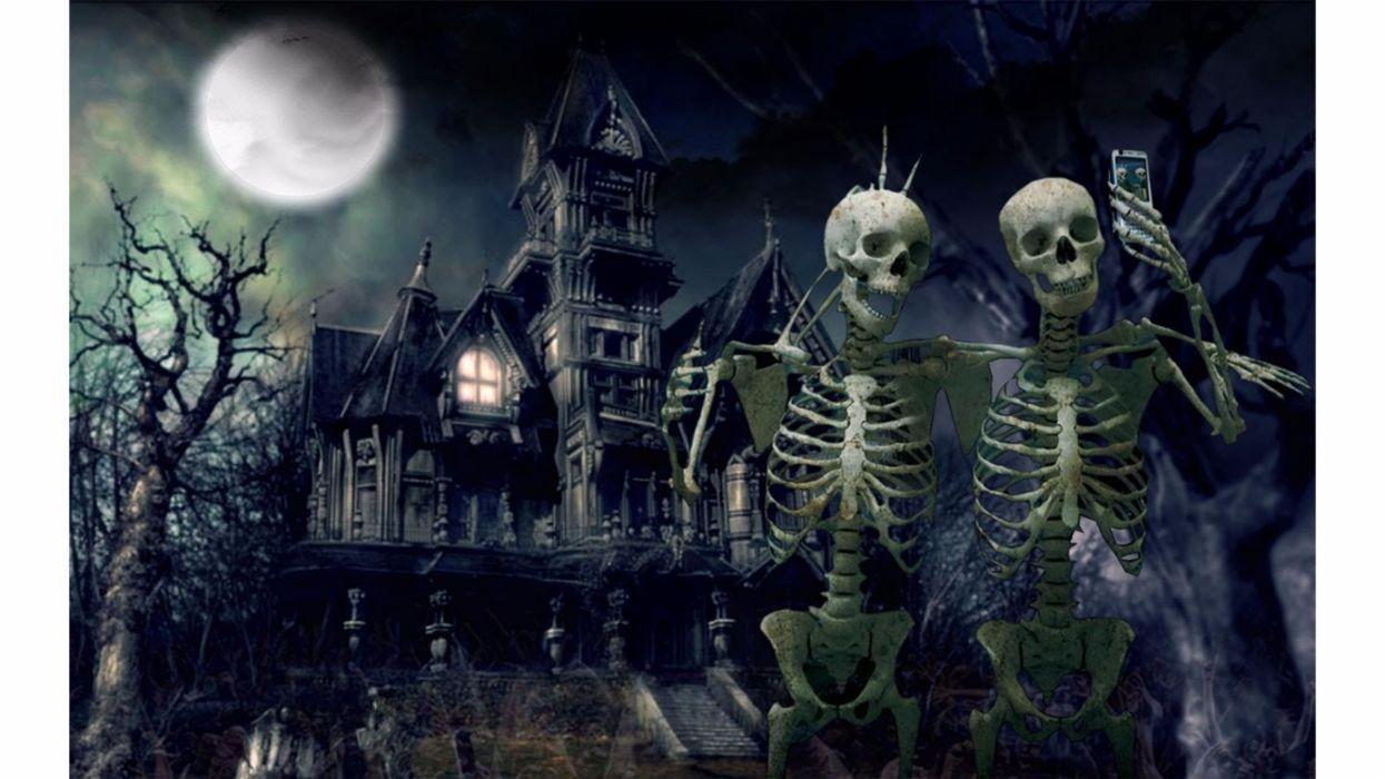 Halloween esqueletos cementerio noche wallpaper