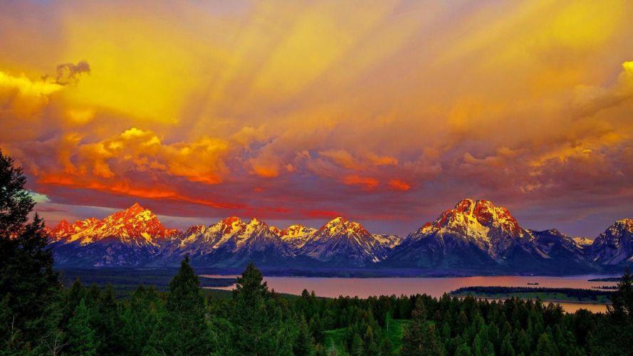 Amazing Sunset Grand Teton wallpaper
