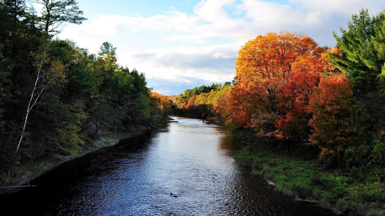 Autumn Trees & Fabulous River wallpaper