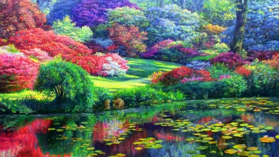 Colorful Trees & Lily Pond wallpaper