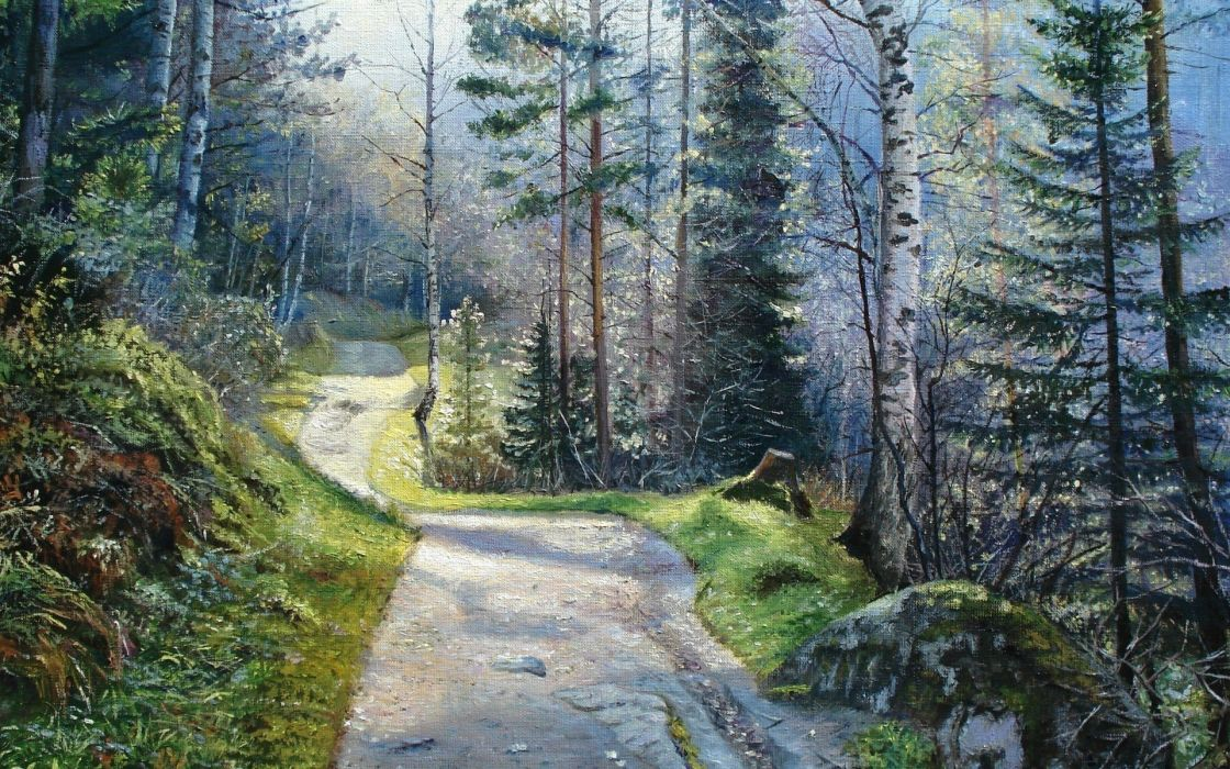 Forest tree path stone exquisite painting landscape wallpaper