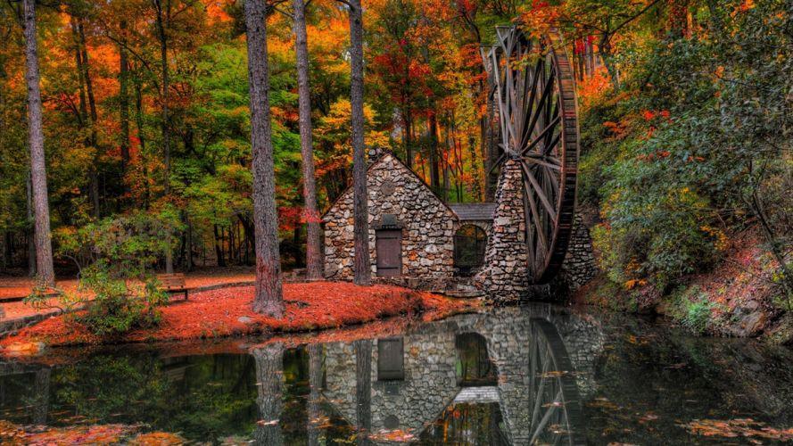 Forest autumn fallen leaves water mill park landscape wallpaper