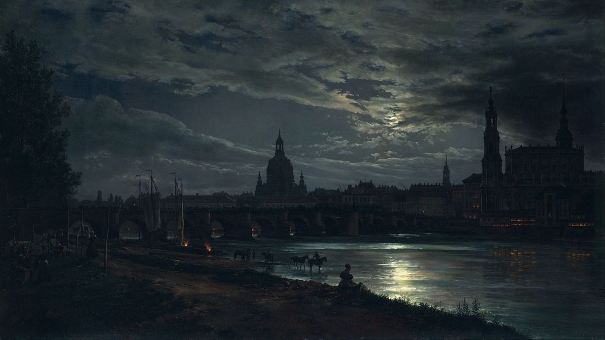 artwork classic art painting J C Dahl Dresden Germany cityscape city night river bridge Moon cathedral reflection moonlight lights clouds trees women horse ship wallpaper