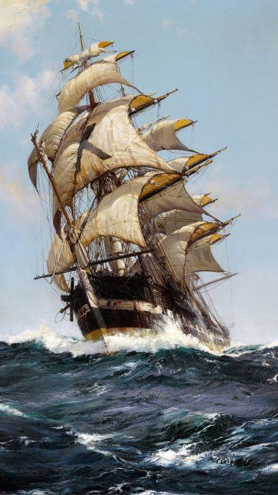 artwork classic art painting sailing ship portrait display clouds sea waves sailor Montague Dawson wallpaper