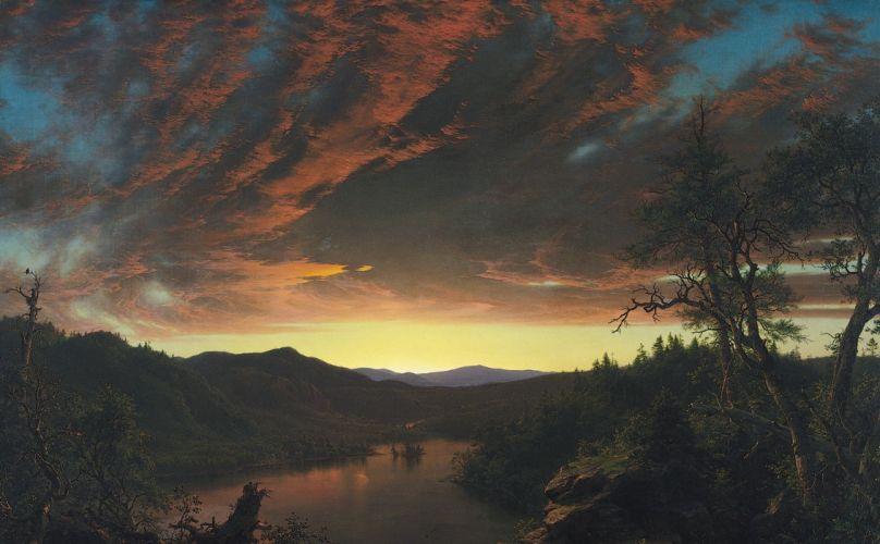 classic art painting landscape clouds nature wallpaper