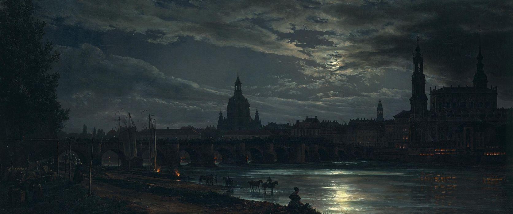 ultrawide classic art Dresden wallpaper